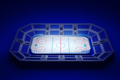 Ice hockey arena. 3d rendered illustration of an ice hockey arena on blue background royalty free illustration