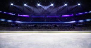 Ice hockey arena indoor illuminated loop animation stock footage