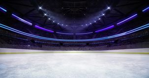 Ice hockey arena interior illuminated loop animation stock footage