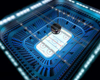 Ice hockey arena stadium 3D top view. Modern ice hockey arena stadium 3D top view stock illustration