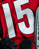 Ice hockey background. With jersey, skate, puck and gloves Stock Image