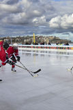 Ice hockey on a beach stock images