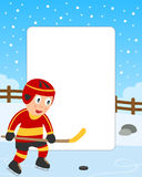 Ice Hockey Boy Photo Frame. Photo frame, invitation card or page for your scrapbook. Subject: a boy playing ice hockey in a park. Eps file available Stock Photography