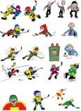Ice hockey cartoons characters. Fun ice hockey cartoons comics characters Stock Photography