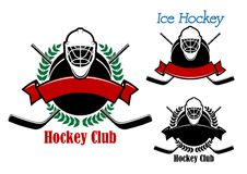 Ice hockey club emblems with sport items Stock Photos
