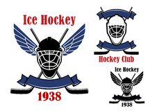 Ice hockey club icons with sport items Royalty Free Stock Images