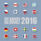 Ice hockey country flags icons Stock Photography
