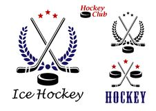 Ice hockey emblems and icons Stock Photos