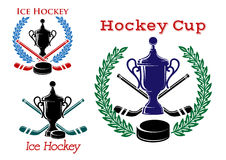 Ice hockey emblems and symbols Royalty Free Stock Images