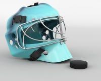 Ice hockey equipment. 3D render of ice hockey goalie equipment Royalty Free Stock Photography