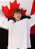 Ice hockey fan with canadian flag Royalty Free Stock Photography