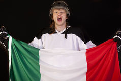 Ice hockey fan with italian flag Royalty Free Stock Photography
