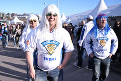 Ice hockey fans. Finland ice hockey fans in Helsinki, Hartwall arena Royalty Free Stock Image