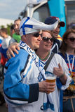 The ice hockey fans from Finland Royalty Free Stock Image