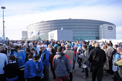 Ice hockey fans. Latvian ice hockey fans in Helsinki, Hartwall arena Stock Image