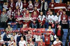 Ice hockey fans. Latvian ice hockey fans in Helsinki, Hartwall arena Royalty Free Stock Photos