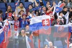 Ice hockey fans. Slovakia ice hockey fans in Helsinki, Hartwall arena Stock Photography