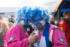 The ice hockey fans in wigs from Finland Royalty Free Stock Images