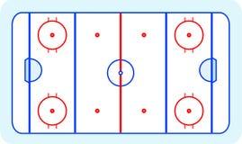 Ice hockey field greetings card vector. Ice hockey field blue greetings card Royalty Free Stock Photography