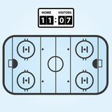 Ice hockey field plan with score board Stock Photography