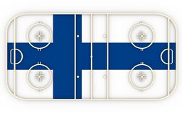 Ice hockey field textured by Finland flag. Relative to world competition. 3D rendering. Simple playground Royalty Free Stock Photography