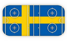 Ice hockey field textured by Sweden flag. Relative to world competition Royalty Free Stock Photo
