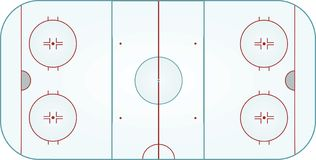 Ice hockey field. Top view, vector illustration Royalty Free Stock Photography