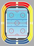 Ice hockey  field and tribunes. Royalty Free Stock Photography