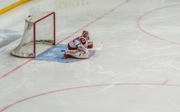 Ice hockey goalkeeper ready for defense. Ice hockey game, goalkeeper, full frame, alone in front of the goalpost, ready for defense stock images