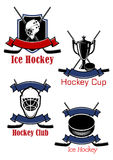 Ice hockey game icons and symbols Royalty Free Stock Photo