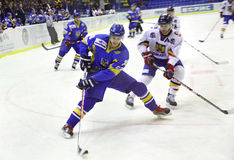 Ice-hockey game between Ukraine and Romania Royalty Free Stock Images
