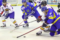 Ice-hockey game between Ukraine and Romania Stock Photography