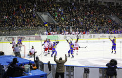 Ice-hockey game Ukraine vs Poland Royalty Free Stock Images