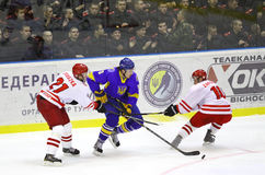 Ice-hockey game Ukraine vs Poland Stock Photos