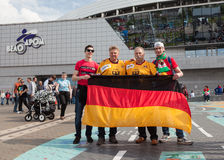 The ice hockey German and Belarus fans Royalty Free Stock Images