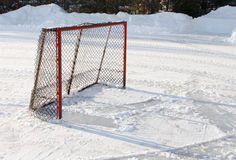 Ice hockey goal. On pond ice rink Stock Image