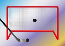 Ice hockey - goal. Ice hockey - puck flies through the air into the ice hockey goal. Vector eps format 10 is available Stock Photography