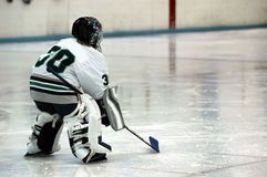Ice hockey goalie. A youth hockey goalie on the ice royalty free stock photo