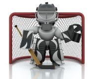 Ice hockey Goalie. 3D render of an ice hockey netminder Royalty Free Stock Photos