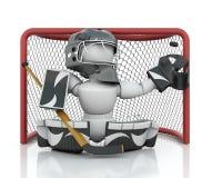 Ice hockey Goalie. 3D render of an ice hockey netminder Royalty Free Stock Image