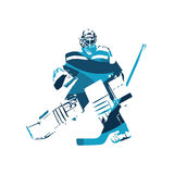 Ice hockey goalie, abstract blue silhouette Royalty Free Stock Image