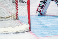 Ice hockey goalie during a game stock photo