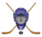 Ice Hockey Goalie Mask Sticks and Puck Stock Images