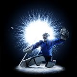 Ice Hockey goalkeeper on a abstract background. Ice Hockey goalkeeper is on a abstract background with intensional light Royalty Free Stock Photos