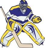 Ice hockey goalkeeper. In action. Editable vector illustration Stock Photos