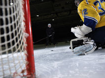 Ice hockey goalkeeper. Player on goal in action Royalty Free Stock Image