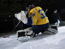 Ice hockey goalkeeper. Player on goal in action Stock Photos