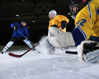 Ice hockey goalkeeper. Player on goal in action Stock Images
