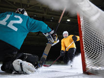 Ice hockey goalkeeper. Player on goal in action Royalty Free Stock Photos