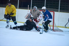 Ice hockey goalkeeper. Player on goal in action Stock Photography